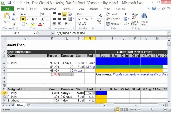 Excel Marketing Plan Template Awesome Free Channel Marketing Plan Template for Excel