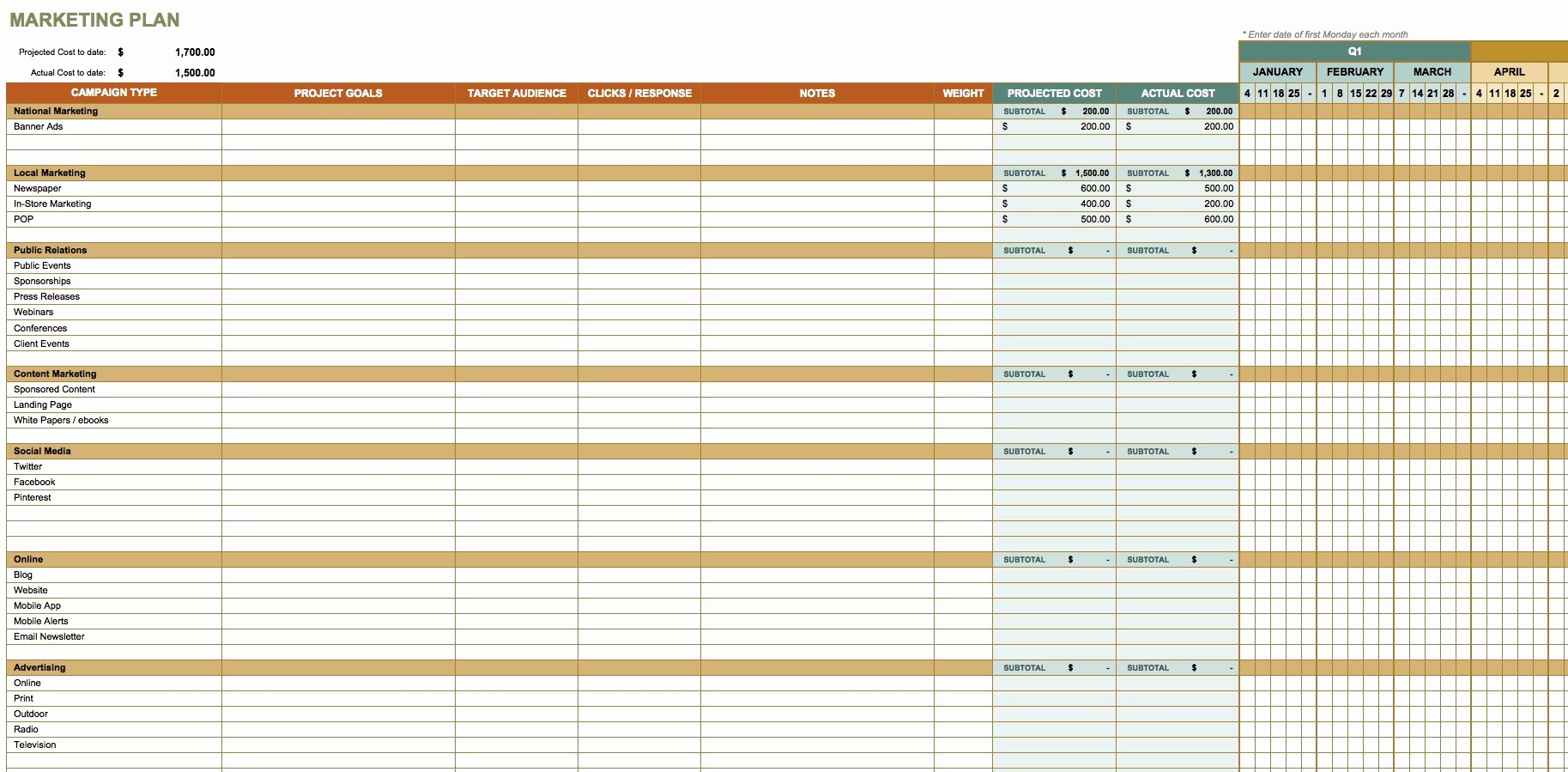 Excel Marketing Plan Template Awesome Free Marketing Plan Templates for Excel Smartsheet