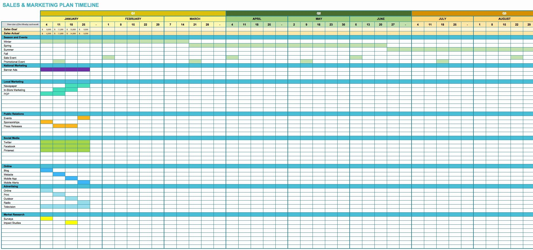 Excel Marketing Plan Template Beautiful Free Marketing Timeline Tips and Templates Smartsheet