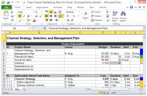 Excel Marketing Plan Template New Free Channel Marketing Plan Template for Excel