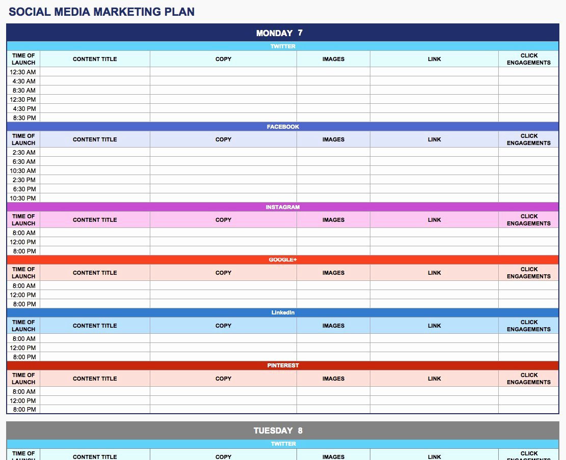 free marketing plan templates excel