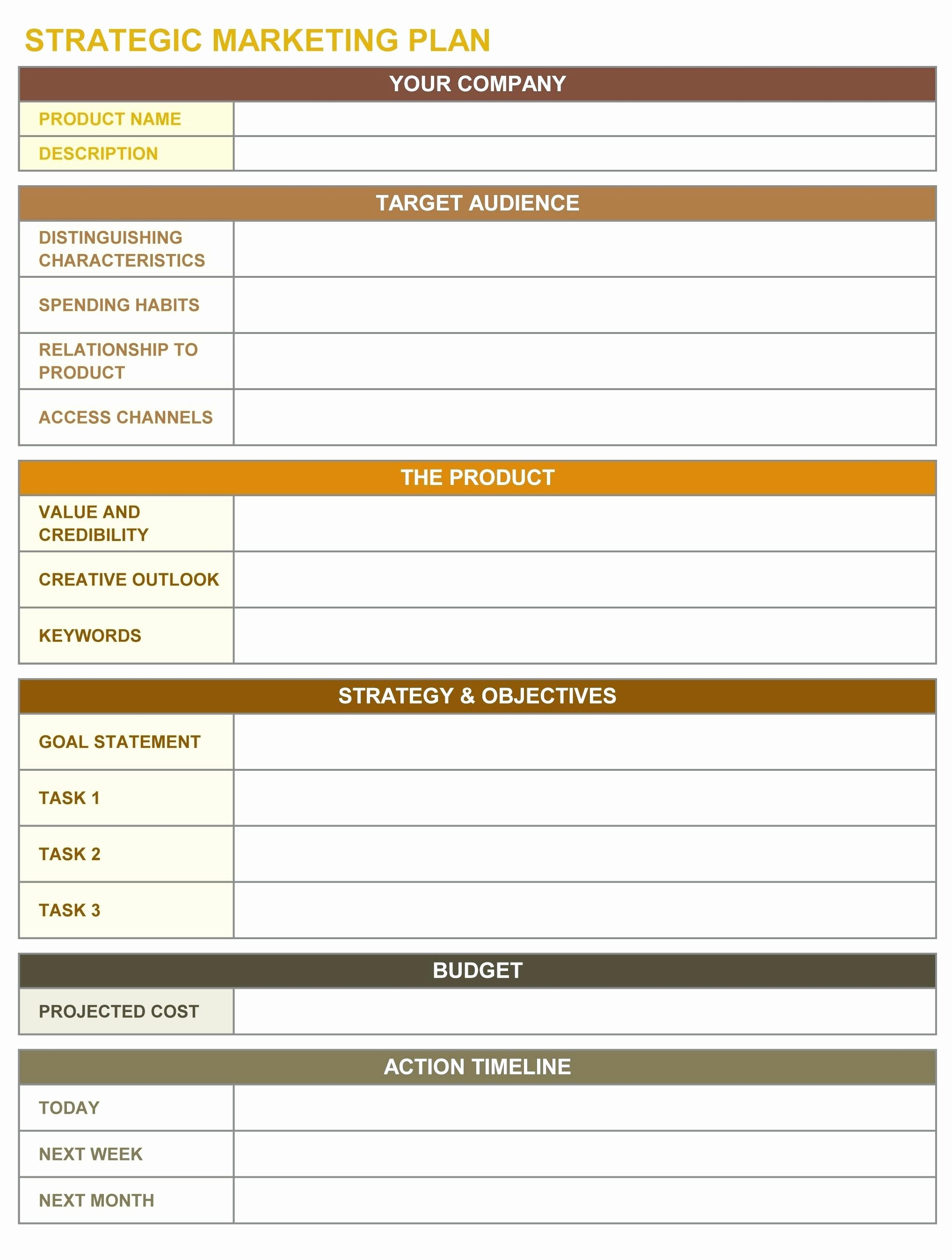 Excel Marketing Plan Template Unique Template Marketing Strategy Template