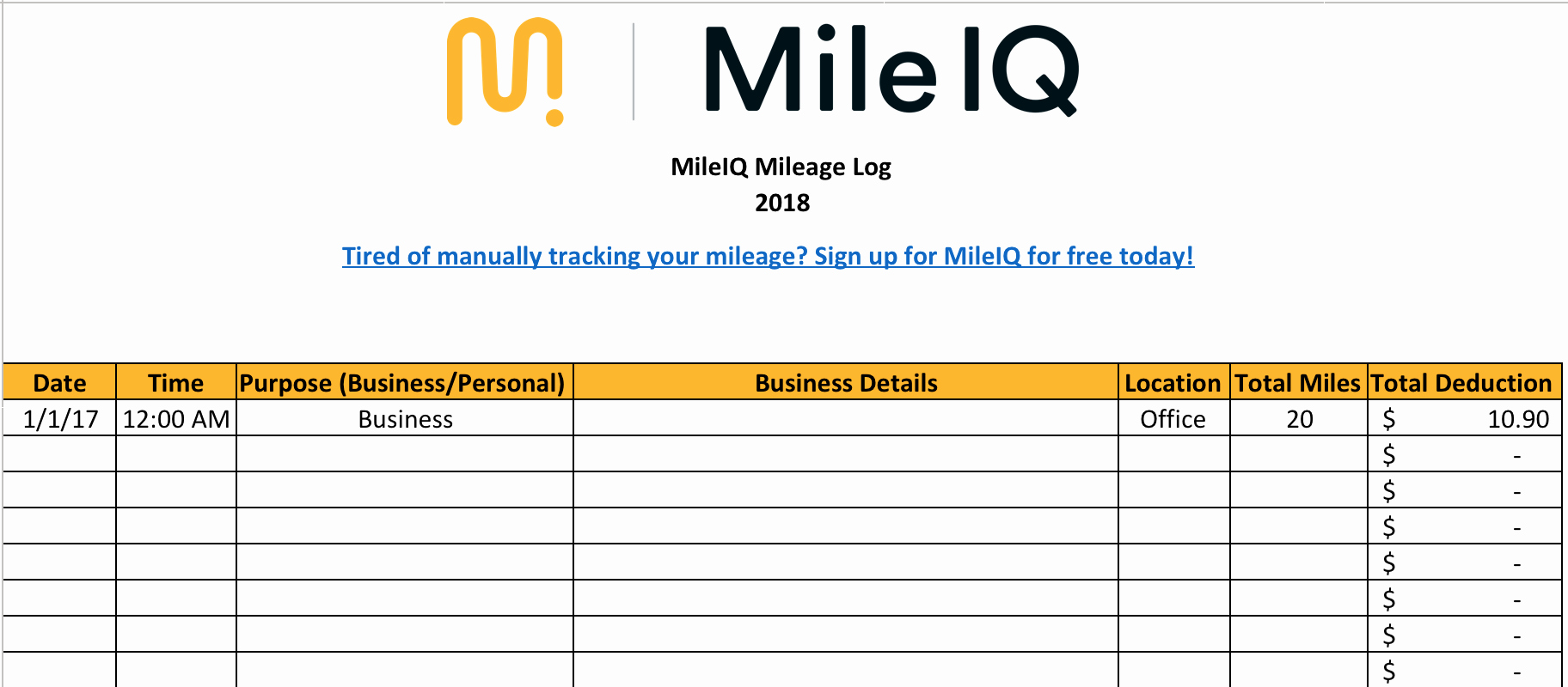 Excel Mileage Log Template Beautiful Free Mileage Log Template for Taxes Track Business Miles