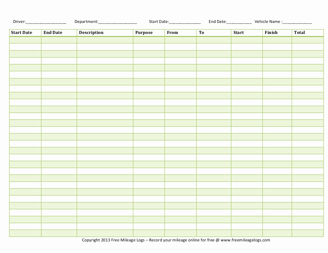 Excel Mileage Log Template Unique 10 Excel Mileage Log Templates Excel Templates