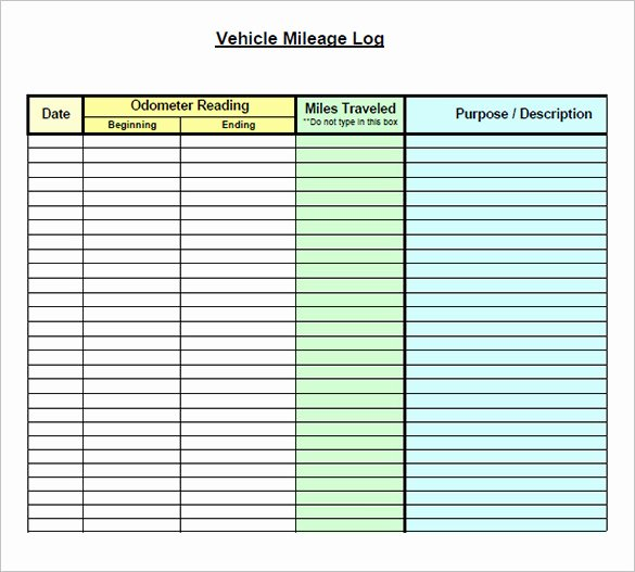 Excel Mileage Log Template Unique 9 Mileage Log Templates Doc Pdf