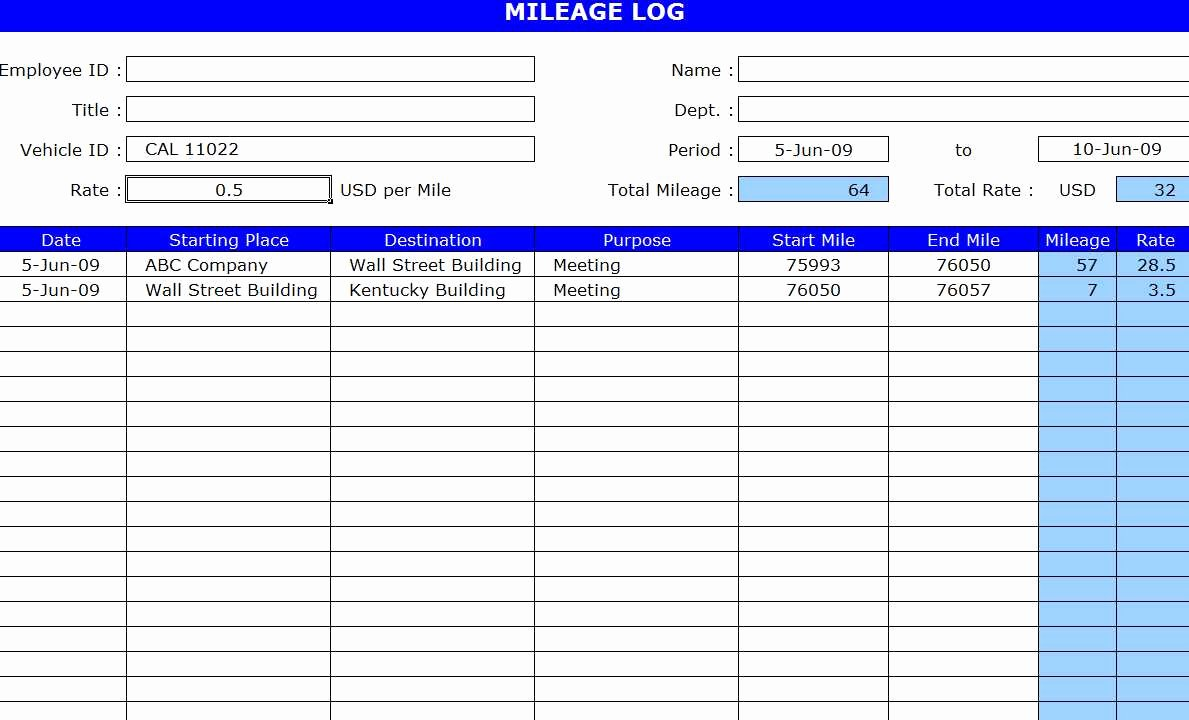 Excel Mileage Log Template Unique Free Mileage Log Template