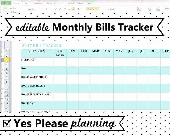 Excel Monthly Bill Template Beautiful Household Bill Tracker Monthly Bills Spreadsheet Bill