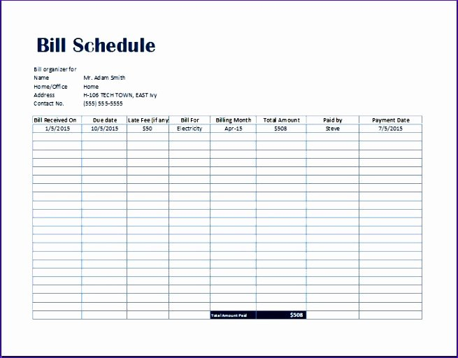Excel Monthly Bill Template Lovely Simple Bill Payment organizer with Date Tracker Excel