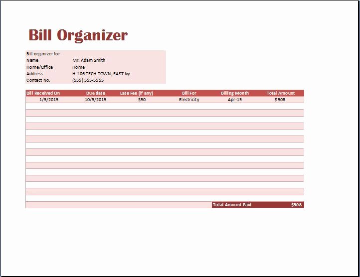 Excel Monthly Bill Template New Excel Monthly Bill Pay Template 7 Best Images Of