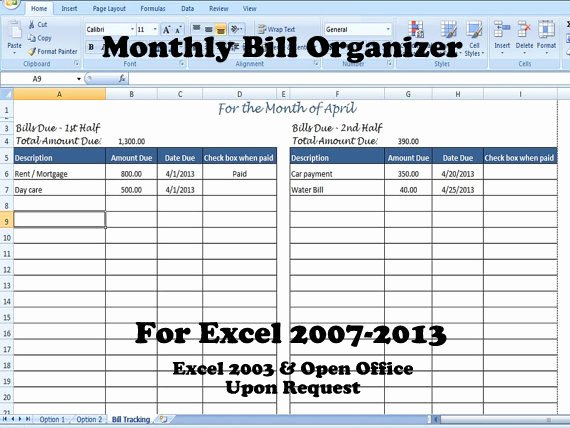 Excel Monthly Bill Template Unique Bill organizer Template Excel Divide Payments Into 1st