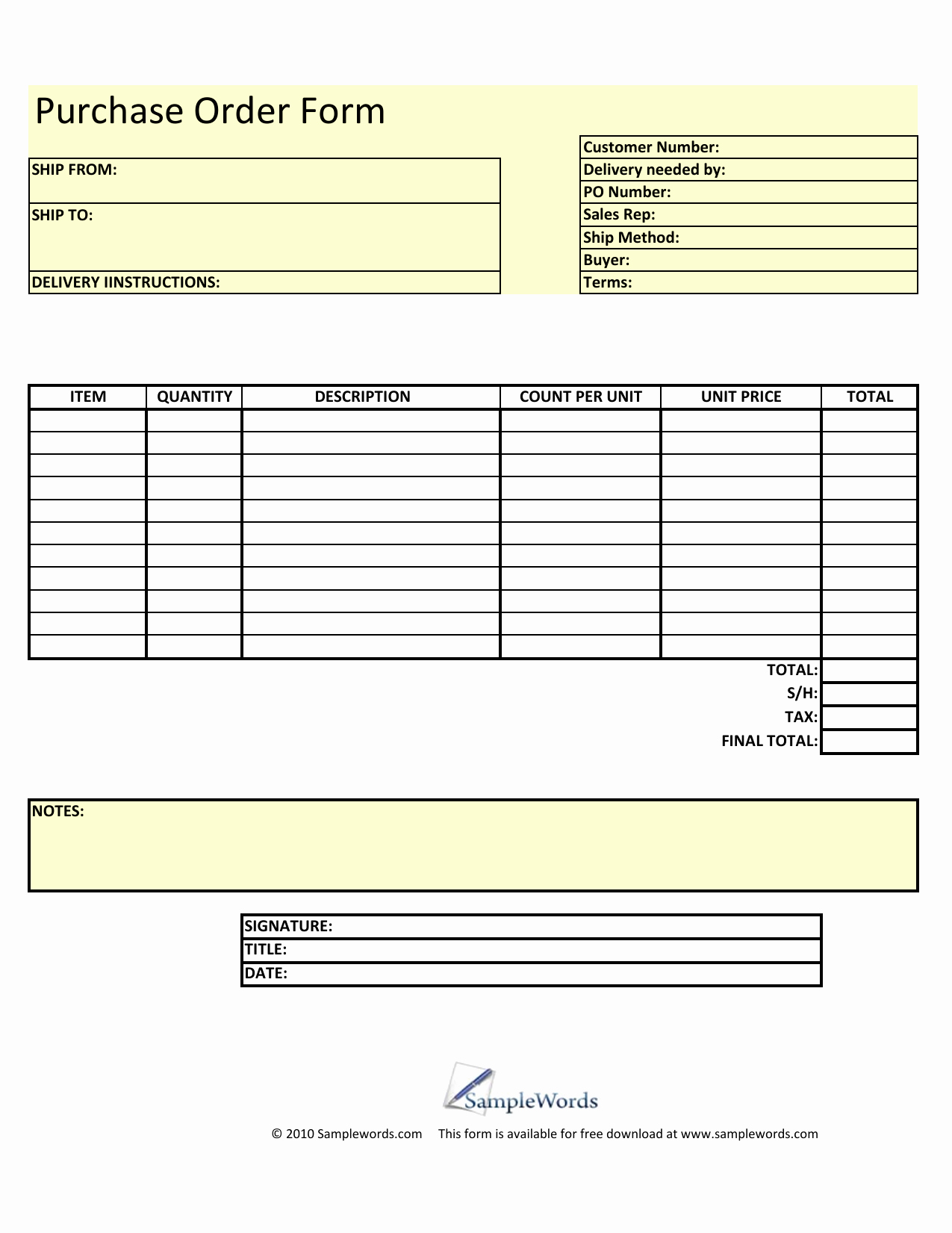 Excel order form Template Luxury Download Blank Purchase order form Template Excel