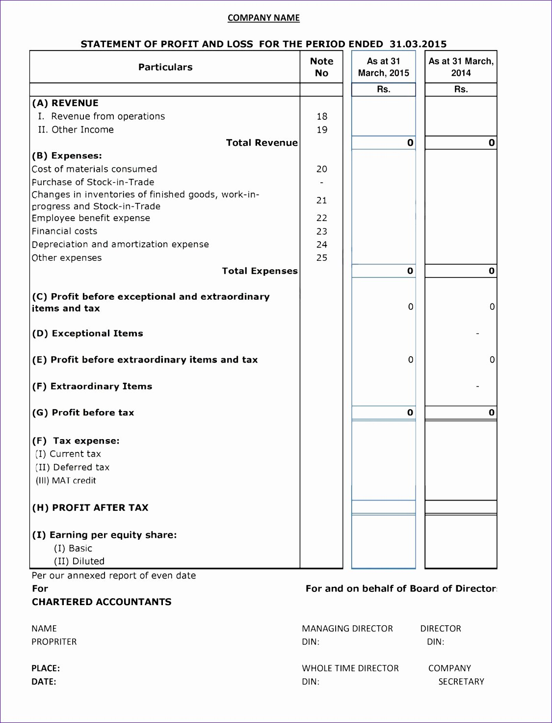Excel P&l Template Awesome 6 Business Financial Statement Template Excel