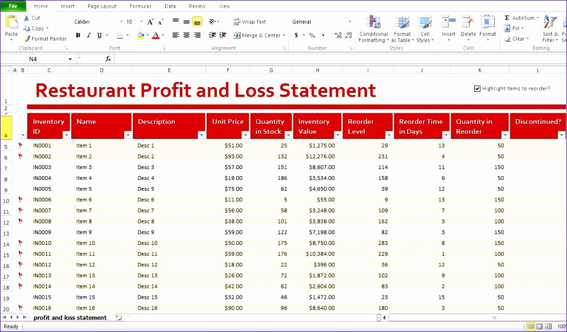 Excel P&l Template New 5 Restaurant Monthly Profit and Loss Statement Template