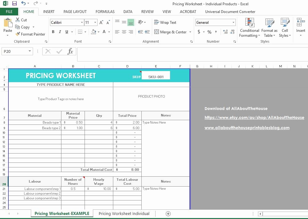 Excel Price Sheet Template Awesome How to Price Your Products Plus A Pricing Calculator