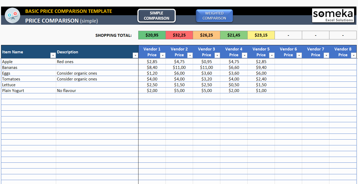 Excel Price Sheet Template Best Of Basic Price Parison Template for Excel Free Download