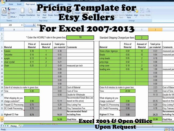 Excel Price Sheet Template Fresh Product Pricing Calculator Template for Etsy and Paypal