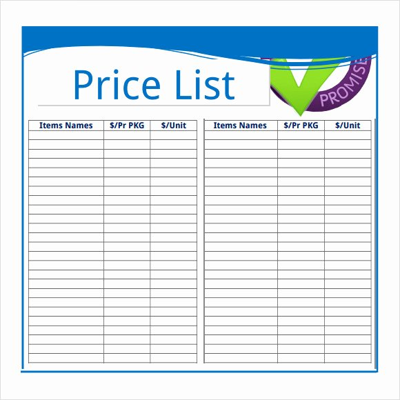 Excel Price Sheet Template Unique Price Sheet Template 9 Free Samples Examples format