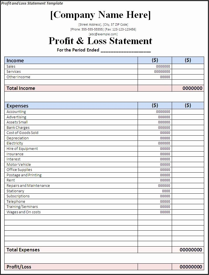 Excel Profit Loss Template Awesome 7 Profit and Loss Statement Templates Excel Pdf formats