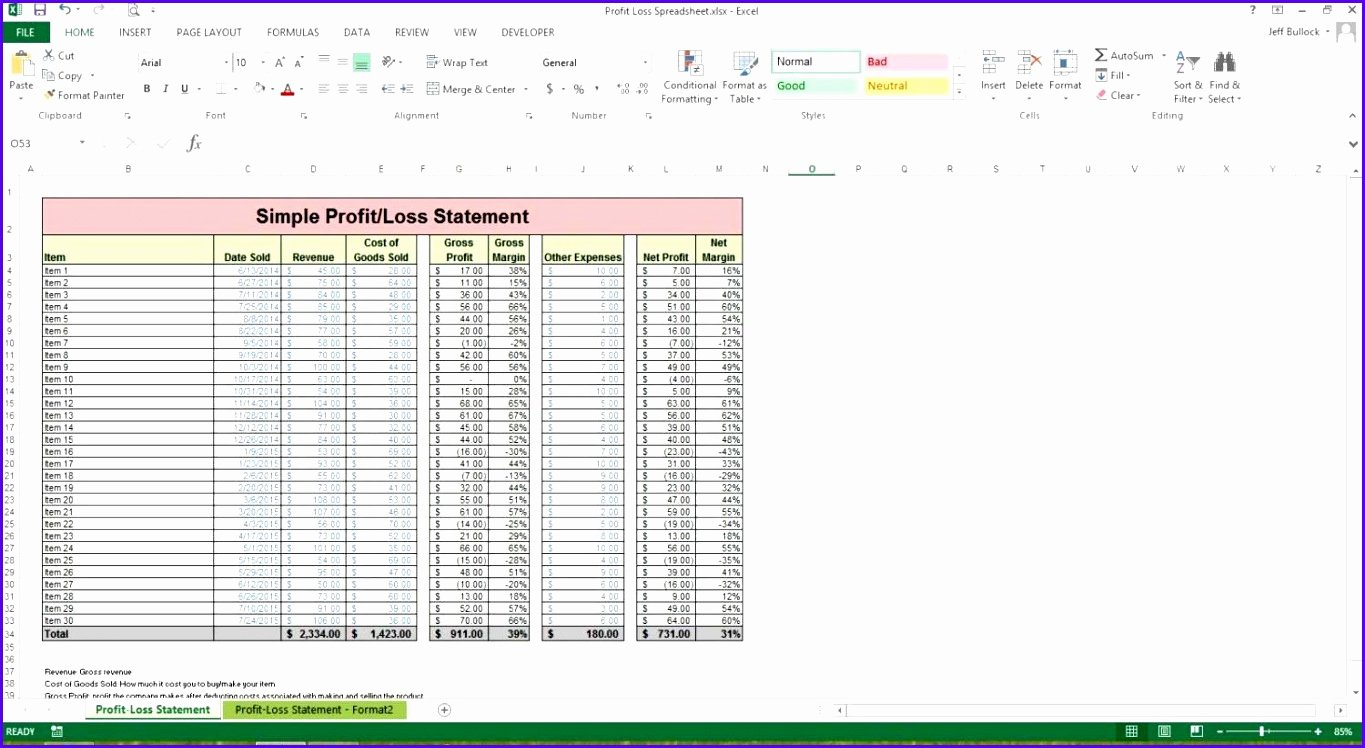 Excel Profit Loss Template Awesome 8 Excel Balance Sheet Template Free Exceltemplates
