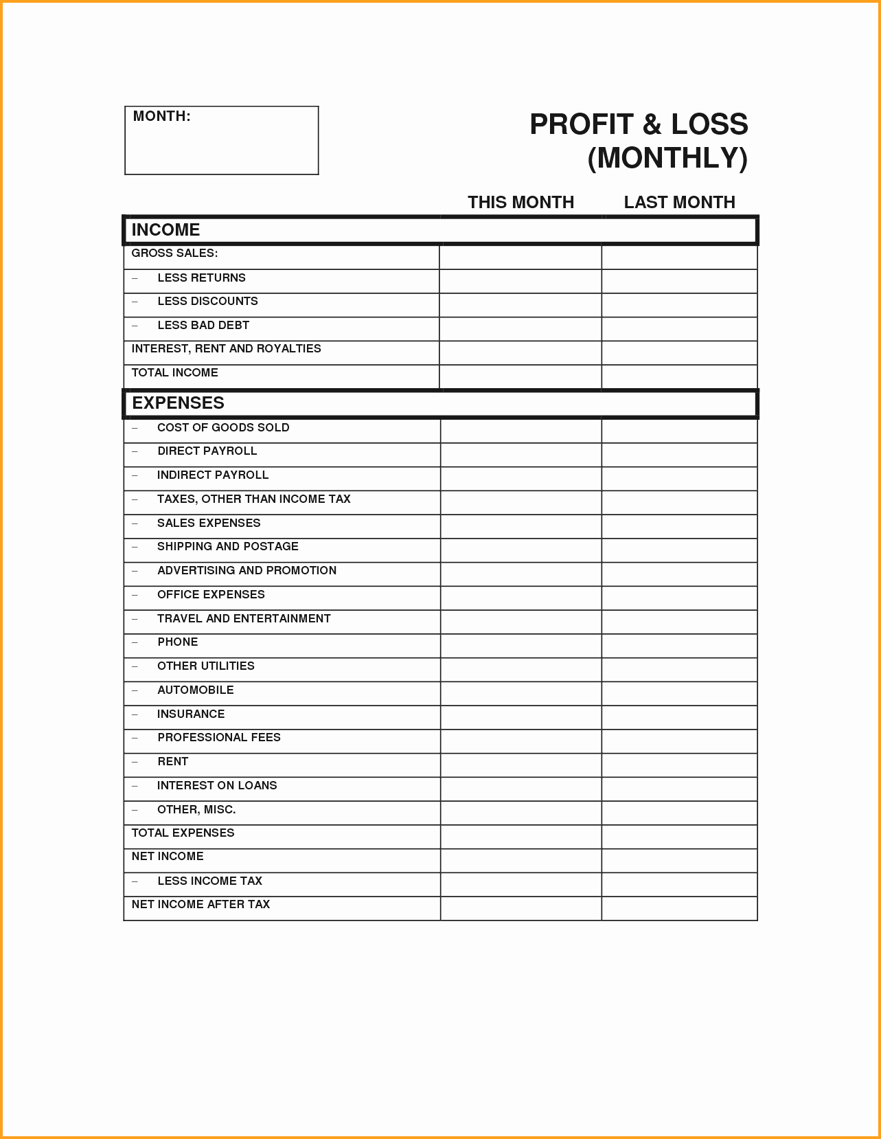Excel Profit Loss Template Beautiful Basic P&l Template Mughals