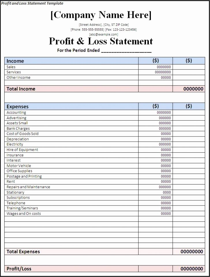 Excel Profit Loss Template Best Of Profit and Loss Statement Template Excel