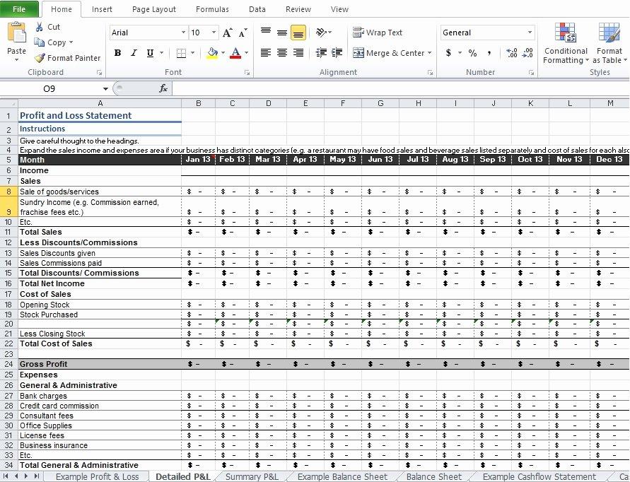 Excel Profit Loss Template Elegant Restaurant Profit and Loss Statement Template Excel