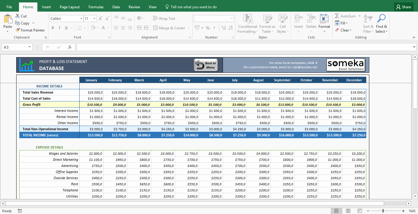 Excel Profit Loss Template Fresh Profit and Loss Statement Template Free Excel Spreadsheet