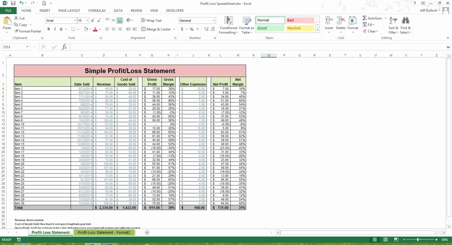 Excel Profit Loss Template Fresh Profit Loss Statement Excel Spreadsheet Template Microsoft