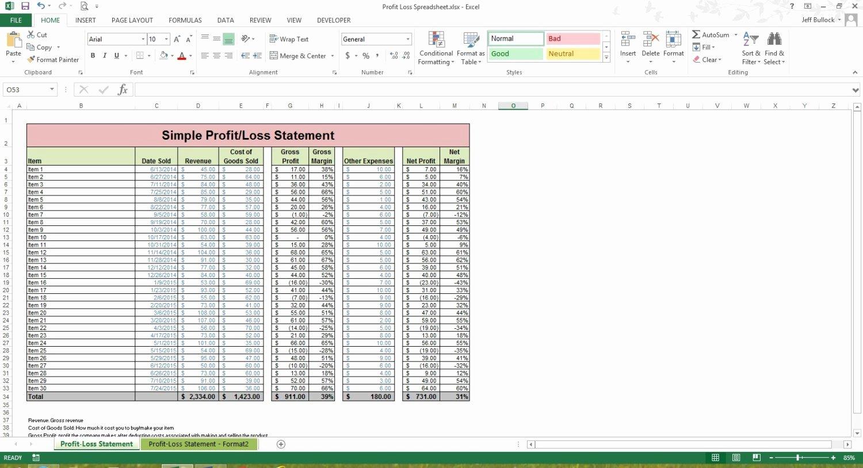 Excel Profit Loss Template Fresh Profit Loss Statement Excel Spreadsheet Template Microsoft