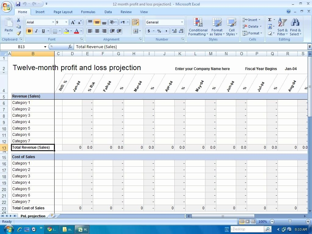 Excel Profit Loss Template Inspirational Profit and Loss Statement for Self Employed Template