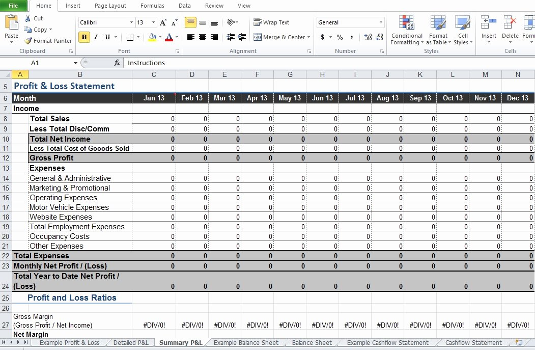 Excel Profit Loss Template New Restaurant Profit and Loss Statement Template Excel