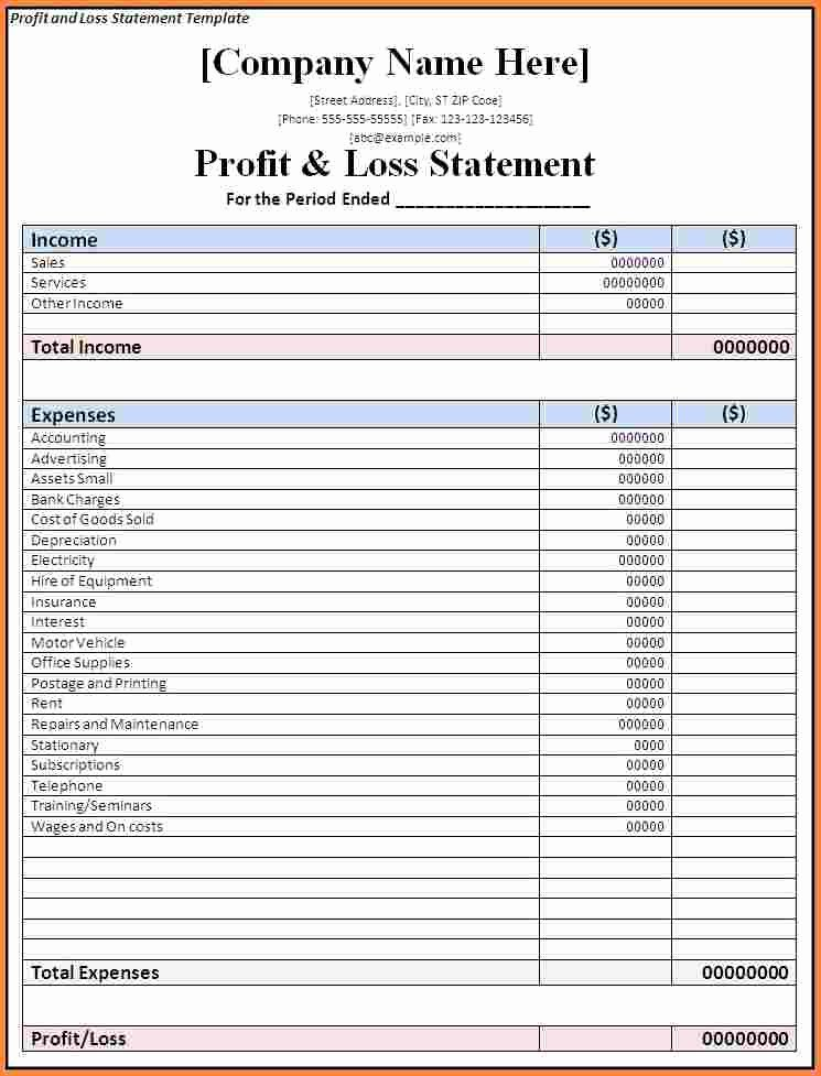 Excel Profit Loss Template Unique 7 Business Profit and Loss Spreadsheet