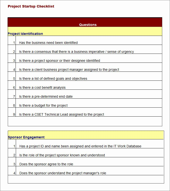 Excel Project Checklist Template Beautiful Project Checklist Template 12 Free Word Pdf Documents