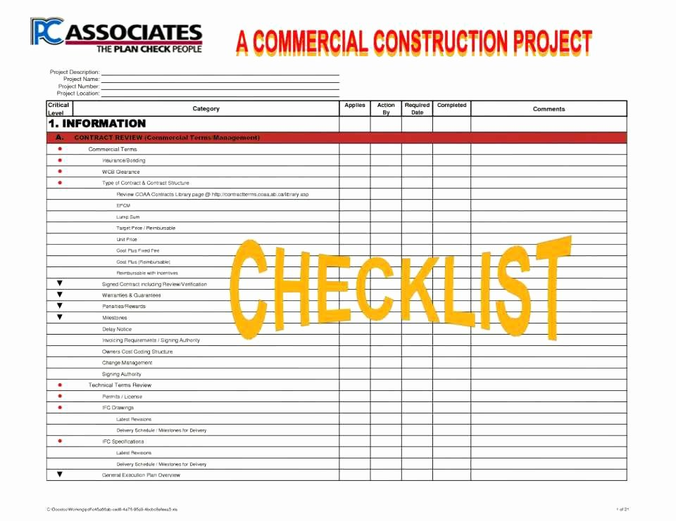 Excel Project Checklist Template Best Of Project Management Checklist Template Excel Free