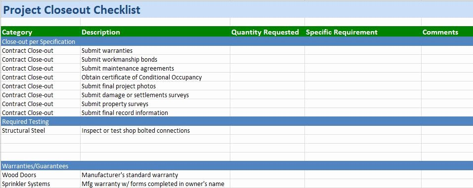 Excel Project Checklist Template Unique Free Construction Project Management Templates In Excel
