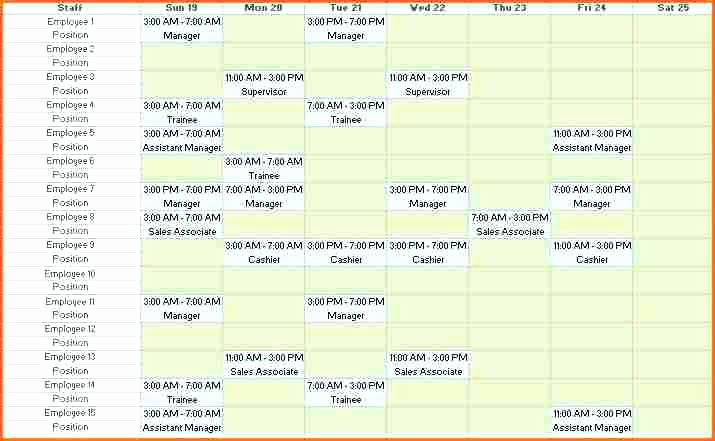 Excel Shift Schedule Template Beautiful Weekly Employee Shift Schedule Template Excel Free and