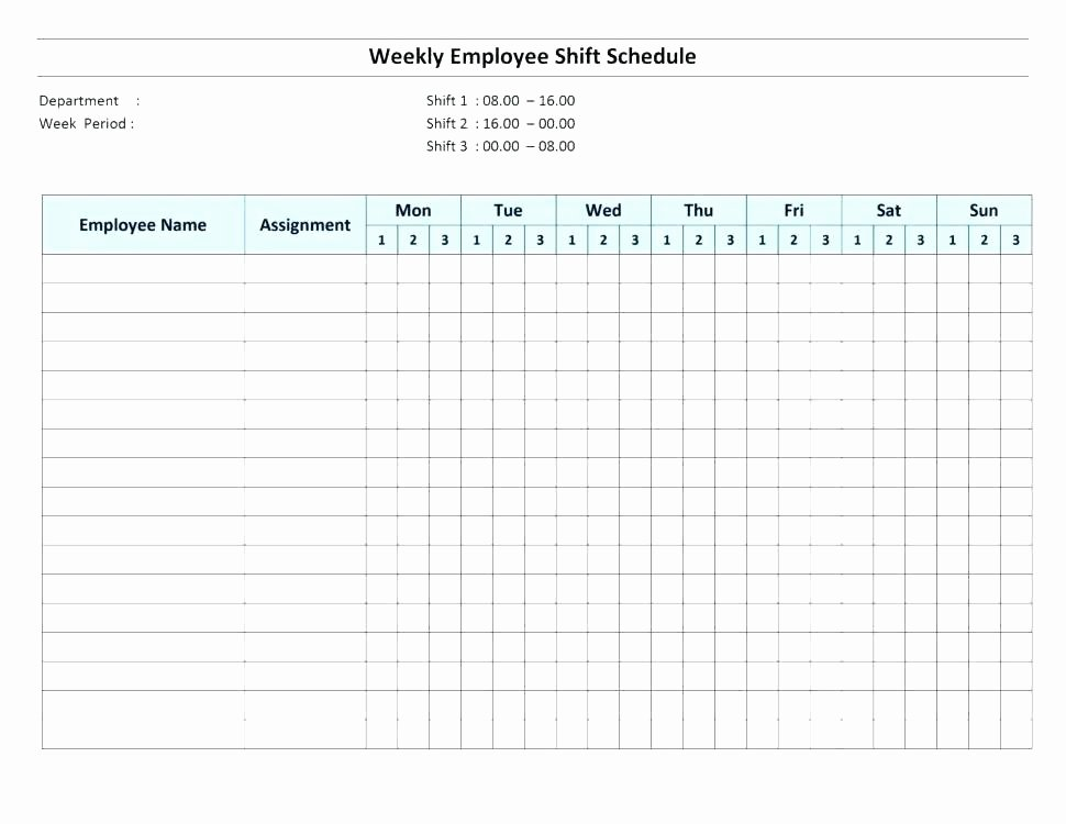 Excel Shift Schedule Template Fresh Free Weekly Employee Shift Schedule Template Excel