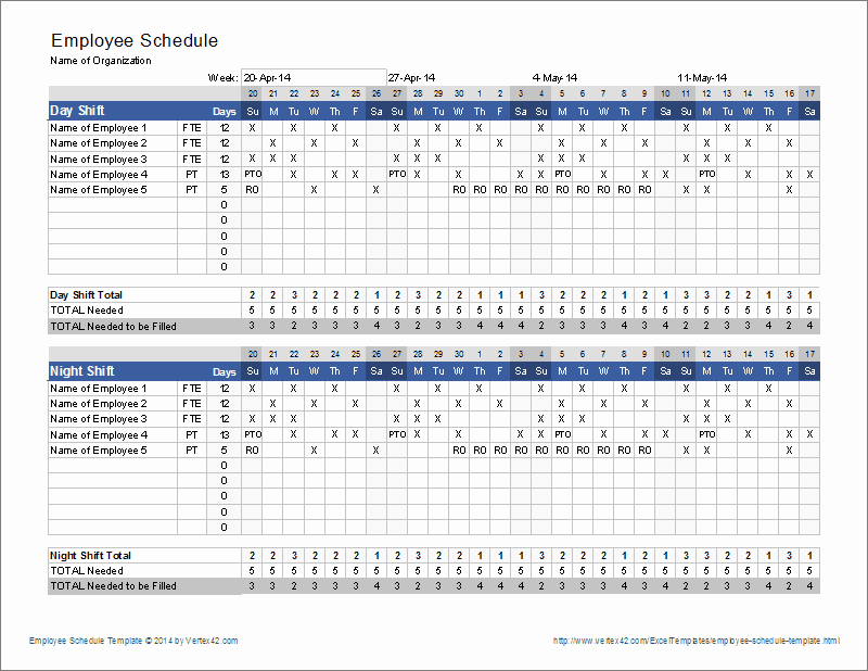 Excel Shift Schedule Template Inspirational Employee Schedule Template