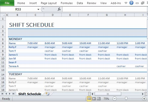 Excel Shift Schedule Template Inspirational Employee Shift Schedule Template for Excel