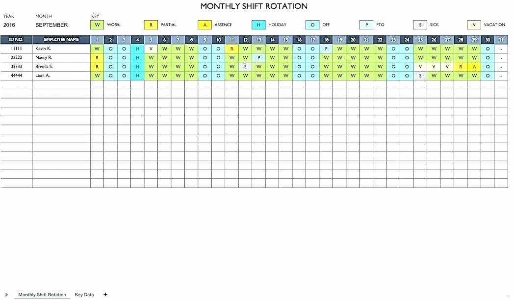 Excel Shift Schedule Template Lovely Shift Planner Excel Monthly Work Schedule Template Temp