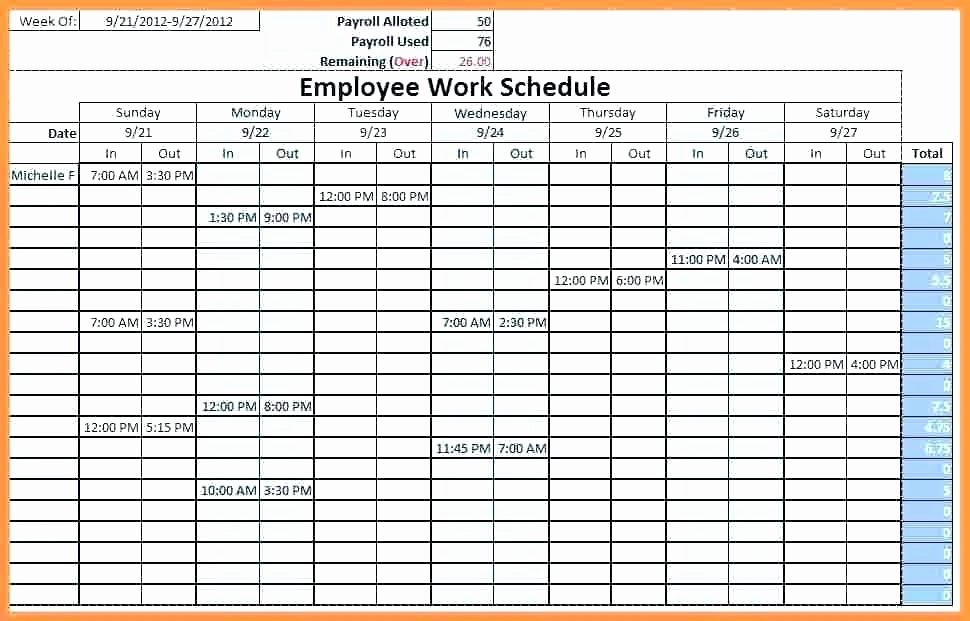 Excel Shift Schedule Template Lovely Work Schedule Template Weekly – Buildingcontractor