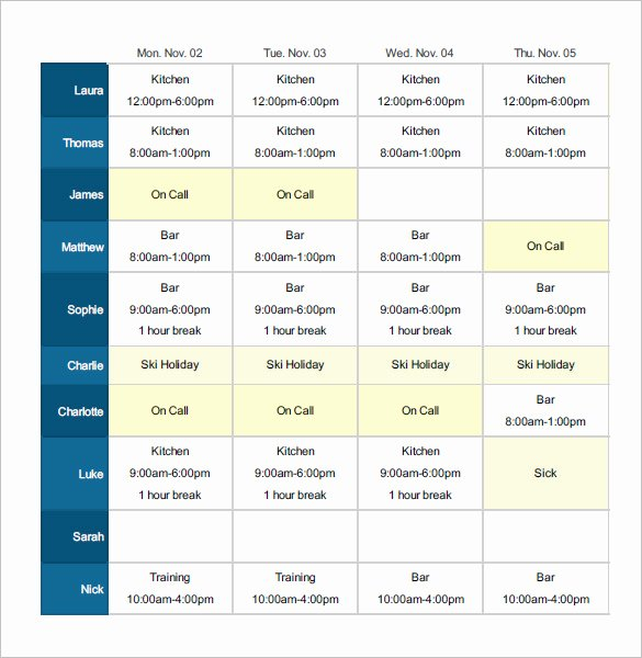 Excel Shift Schedule Template Luxury Employee Shift Schedule Template 12 Free Word Excel