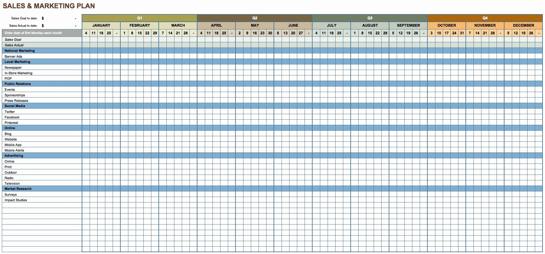 Excel Template for Sales New Free Marketing Plan Templates for Excel Smartsheet