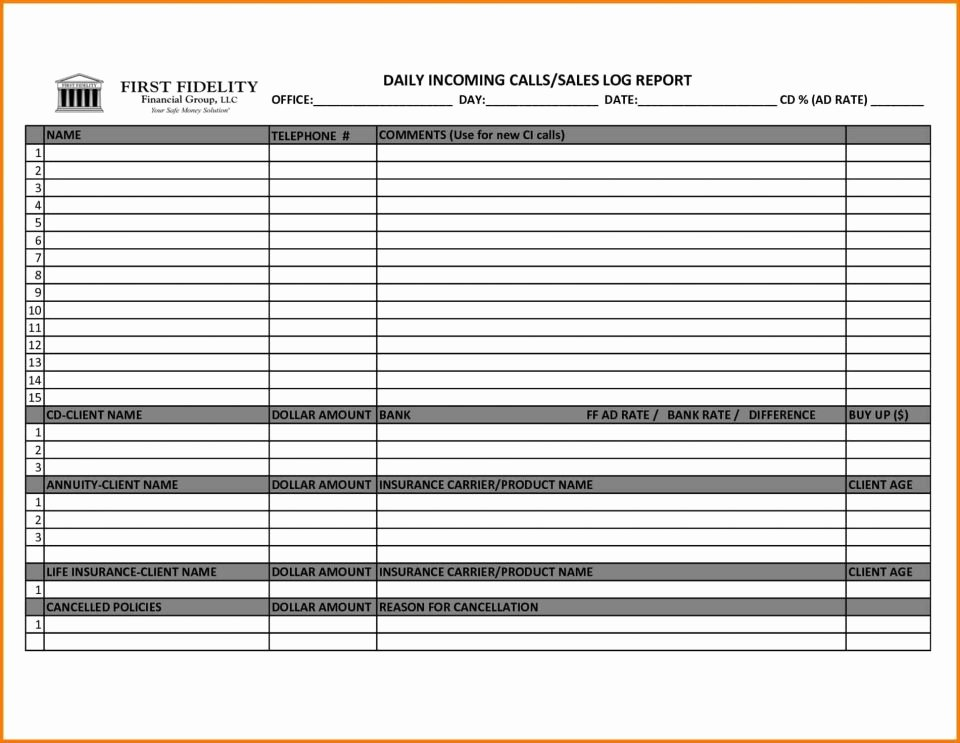 Excel Template for Sales New Sample Sales Call Report