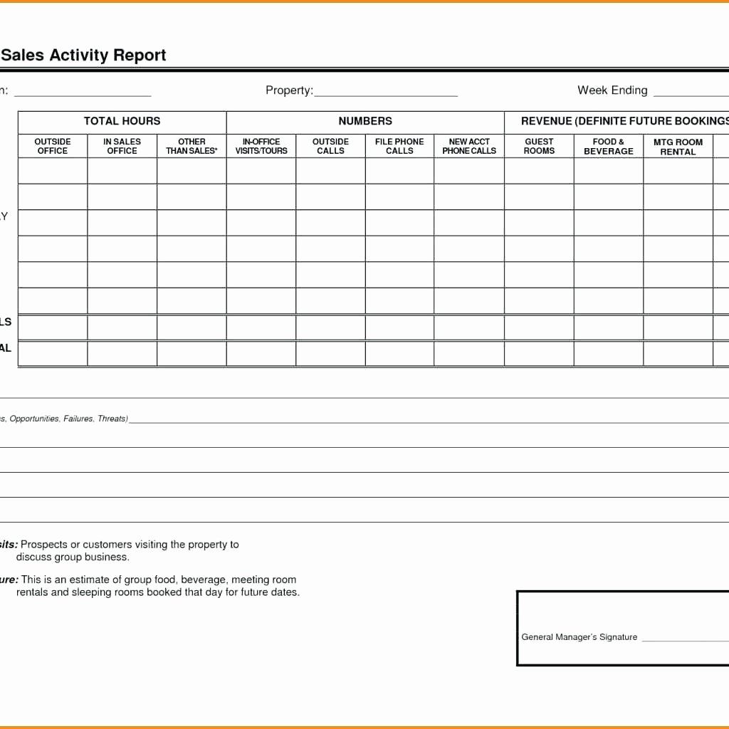 Excel Template for Sales New Template Weekly Call Report Template