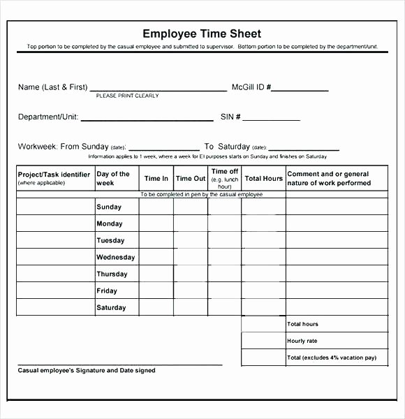 Excel Time Card Template Elegant Time Card Weekly Template Excel Free Caption format In