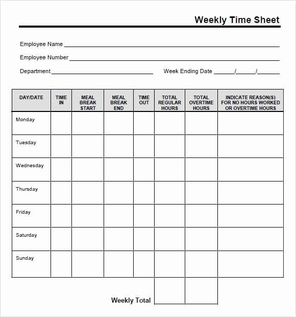 Excel Time Card Template Fresh 9 Free Printable Time Cards Templates Excel Templates
