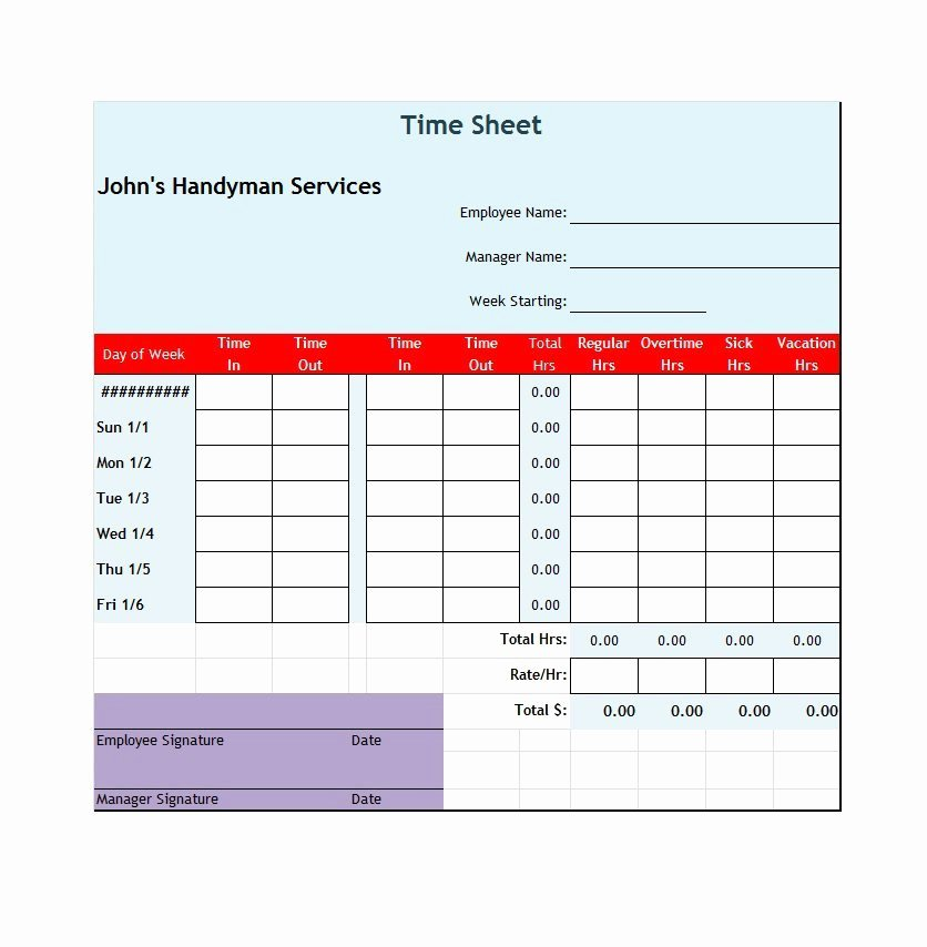 Excel Time Card Template Lovely 41 Free Timesheet Time Card Templates Free Template