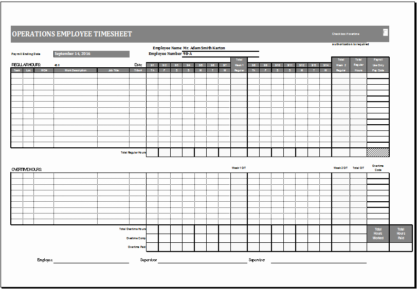Excel Time Card Template Lovely Operations Employee Time Card Template Ms Excel