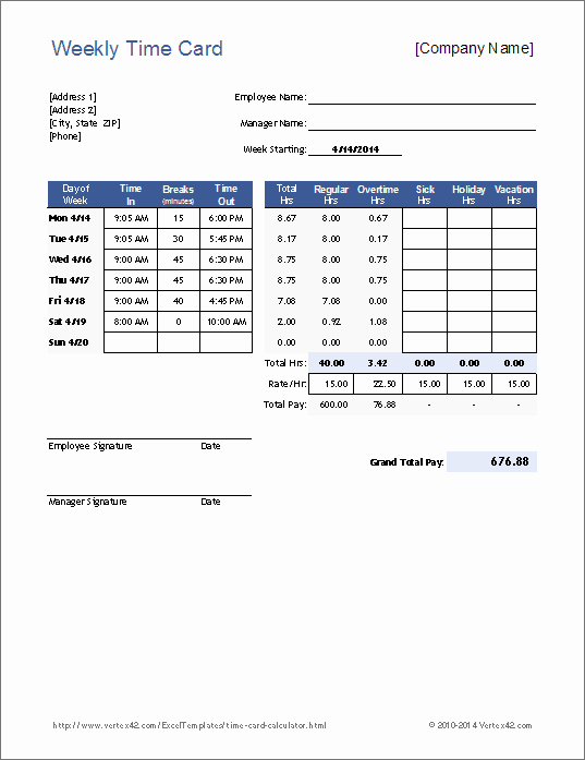 Excel Time Card Template New Free Time Card Calculator